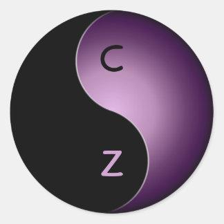 yin yang monogram - purple classic round sticker