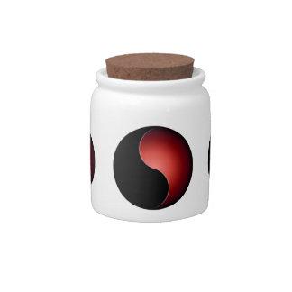 yin yang monogram - red candy jars