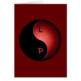 yin yang monogram - red card
