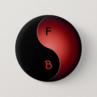 yin yang monogram - red pinback button