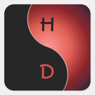 yin yang monogram - red square sticker