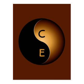 yin yang monogram - toffee postcard