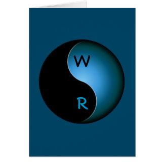 yin yang monogram - turquoise card