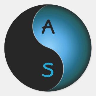 yin yang monogram - turquoise classic round sticker