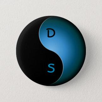 yin yang monogram - turquoise pinback button