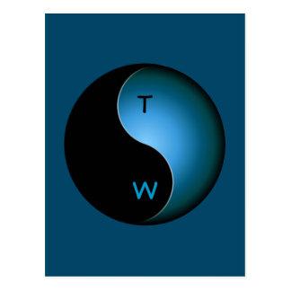 yin yang monogram - turquoise postcard