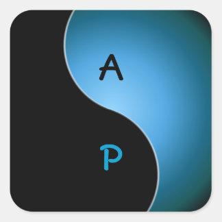 yin yang monogram - turquoise square sticker