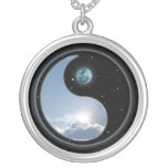 Yin Yang Moon Sun Round Pendant Necklace