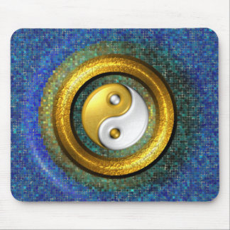 Yin-Yang Mousepad, Golden Ring and Blue mosaic