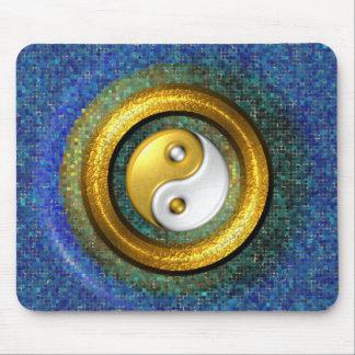 Yin-Yang Mousepad, Golden Ring and Blue mosaic Mouse Pad