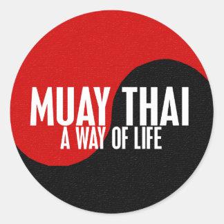 Yin Yang Muay 1 tailandés Pegatina Redonda