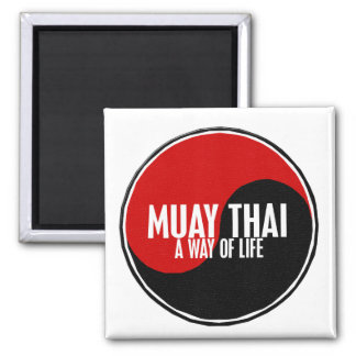 Yin Yang Muay Thai 1 2 Inch Square Magnet