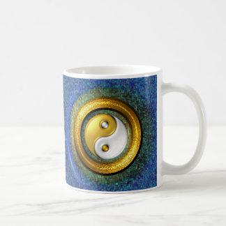 Yin-Yang mug 11oz, Golden Ring and Blue mosaic
