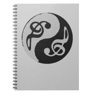 yin yang music clave note notebooks