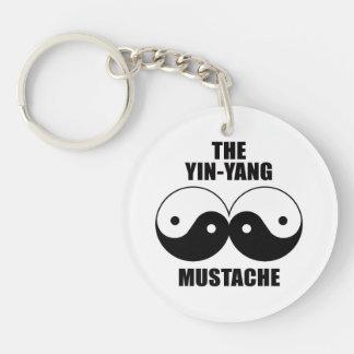Yin-Yang Mustache Keychain