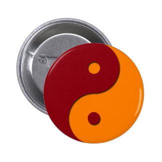 Yin Yang - naranja 1 Pin Redondo De 2 Pulgadas