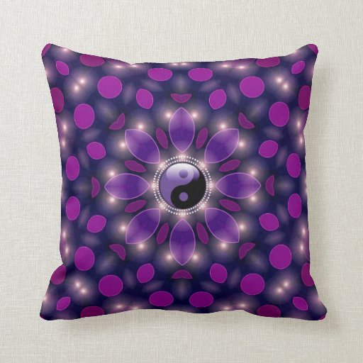 Yin Yang New Age Ambient Energy Purple Cushions