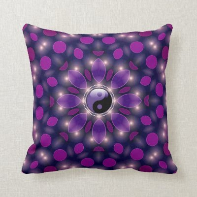 Yin Yang New Age Ambient Energy Purple Cushions Pillow