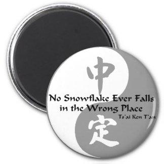 Yin Yang - No Snow Flake 2 Inch Round Magnet