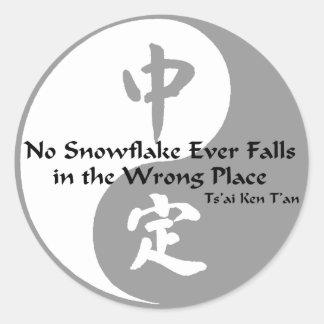 Yin Yang - No Snow Flake Classic Round Sticker