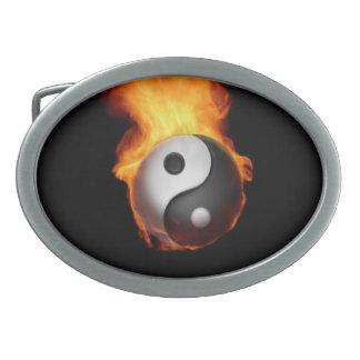 Yin Yang on Fire Belt Buckle