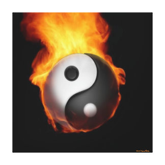 Yin Yang on Fire Stretched Canvas Print