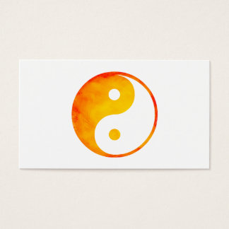 Yin Yang Orange and Yellow Watercolor Chinese Business Card