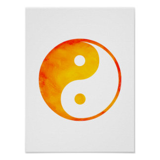 Yin Yang Orange and Yellow Watercolor Chinese Poster