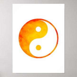 Yin Yang Orange and Yellow Watercolor Chinese Poster