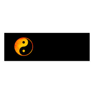 Yin Yang Orange and Yellow Watercolor on Black Double-Sided Mini Business Cards (Pack Of 20)