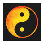 Yin Yang Orange and Yellow Watercolor on Black Gallery Wrapped Canvas