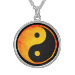 Yin Yang Orange and Yellow Watercolor on Black Round Pendant Necklace