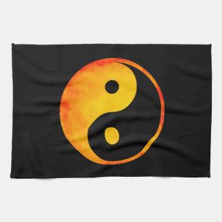 Yin Yang Orange and Yellow Watercolor on Black Towels