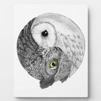 Yin Yang Owls Plaque