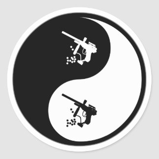 Yin Yang Paintball Etiquetas Redondas