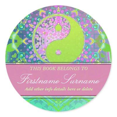 Yin Yang Pastels Bookplate Sticker sticker
