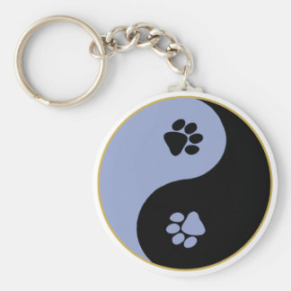 Yin Yang Paws Blue Keychains