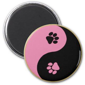 Yin Yang Paws Pink Refrigerator Magnets