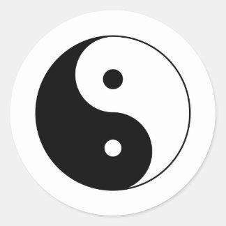 yin yang etiqueta redonda