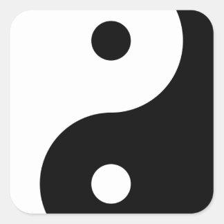 Yin Yang Pegatina Cuadrada