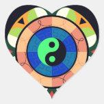 ¡Yin Yang! Pegatina En Forma De Corazón
