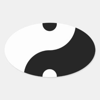 Yin Yang Pegatina Ovalada
