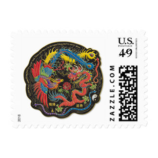 Yin Yang Phoenix and Dragon Postage Stamps