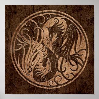 Yin Yang Phoenix con el efecto de madera del grano Póster