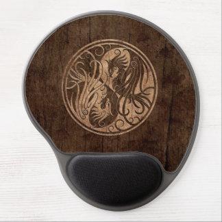 Yin Yang Phoenix with Wood Grain Effect Gel Mouse Pads