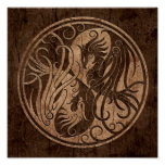 Yin Yang Phoenix with Wood Grain Effect Poster