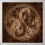 Yin Yang Phoenix with Wood Grain Effect Print