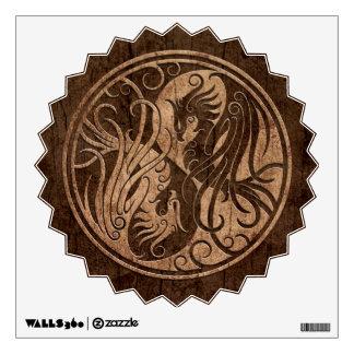 Yin Yang Phoenix with Wood Grain Effect Room Decal