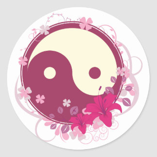 Yin Yang Pink Floral Classic Round Sticker