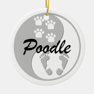 yin yang poodle Double-Sided ceramic round christmas ornament